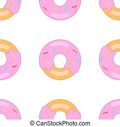 donut pattern big - Donut on a white background. Seamless...