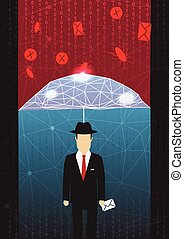 Antivirus and Firewall Umbrella Concept - Vector...