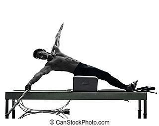 man pilates reformer exercises fitness isolated - one...
