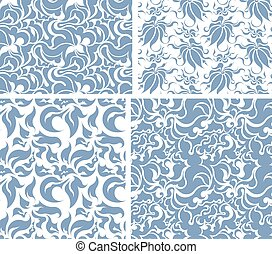 Set of four vector seamless floral patterns.