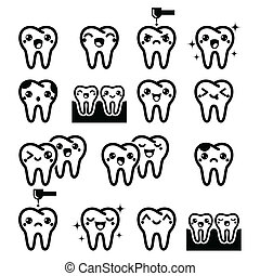 Kawaii Tooth, cute teeth characters - Japanese Kawaii tooth...