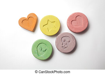 Ecstasy pills - Ecstasy tablets on white background