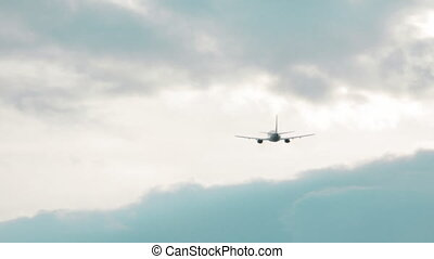 Airplane Is Landing On The Airport - Big jet plane taking...