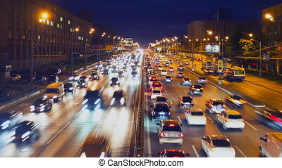 Evening traffic jam of cars - Urban traffic in Moscow. Night...