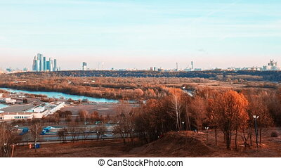 Time-lapse clip of the view on the city of Moscow in The...