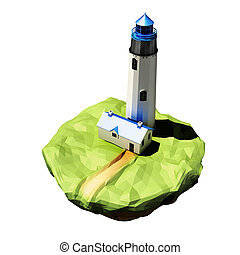 Low-poly image of a lighthouse on white background. 3d rendering