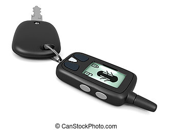 Car alarm remote control and key isolated on white...