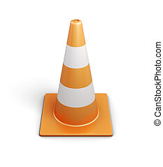 Signal traffic cone on white background 3d rendering