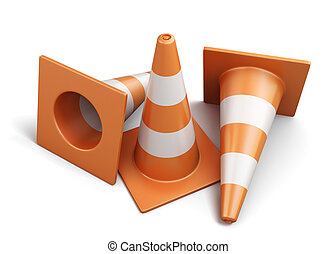 Few traffic cones isolated on a white background 3d render...