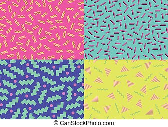 80s 90s Abstract Backgrounds - Vector illustration of fourth...