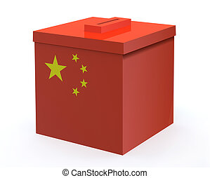 China election ballot box, 3d illustration