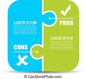 Pros and cons puzzle diagram isolated on white background