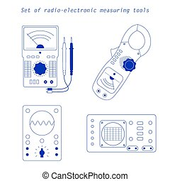 Icons of electrical measuring instruments. Vector...