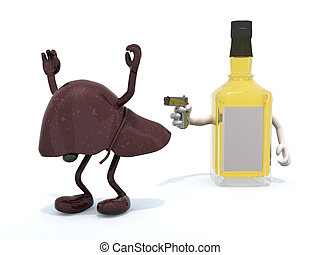 whiskey bottle with arms wielding gun to the human liver, 3d...