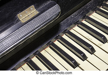 Old piano keys. Black and white.
