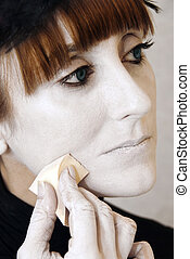 Stage Makeup - Stage makeup, close up to woman in backstage...