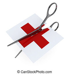 red cross symbol hospital cut by scissor, 3d illustration...