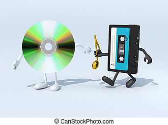 relay between old audio tape and cd audio, 3d illustration
