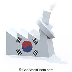 korean factory with chimney knotted, 3d illustration