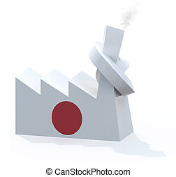 japanese factory with chimney knotted, 3d illustration