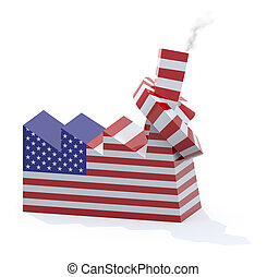 American factory with chimney knotted, 3d illustration