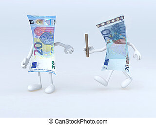 relay between old and new 20 euro notes, 3d illustration