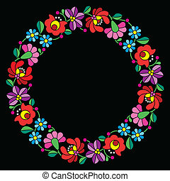 Kalocsai embroidery in circle - Hun - Vector floral...