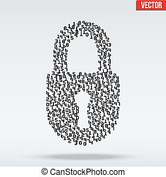 Simple icon of digital lock visually composed of many digits...