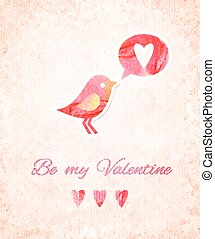 Valentine Watercolor Card with Bird. Vector illustration, eps10 editable.