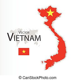Vietnam ( Socialist Republic of Vietnam )( flag and map )( Transportation and tourism concept ) , vietnam is one of AEC ( ASEAN Economic Community )