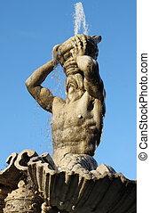 triton, fontaine, dans, rome,