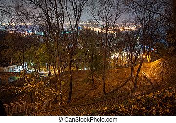 Autumn park at night in Kiev