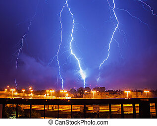 Lightning in the sky over the city