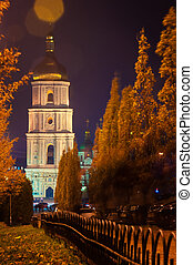 Kiev - Saint Sophia Cathedral in Kiev at night