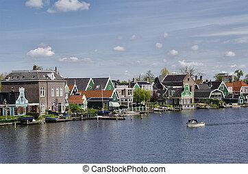typowy, Zabudowanie, Na, Zaanse, Schans, Amsterdam,...
