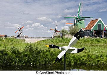 schans, wiatraki,  zaanse, holandia,  Amsterdam