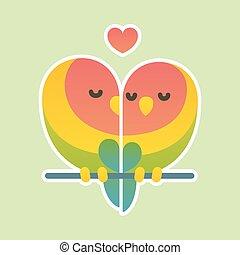 Cute lovebird couple. - Cute cartoon lovebird parrots...