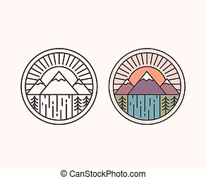 Mountain line emblem - Vector mountain with waterfall,...