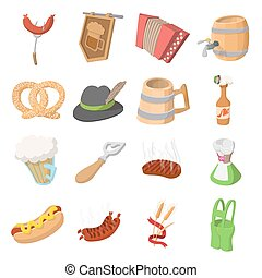 Oktoberfest party cartoon icons set isolated on white...