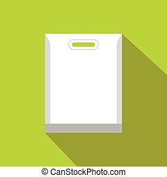 Blank white plastic bag flat icon on a green background