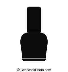 Nail polish bottle black simple icon isolated on white...