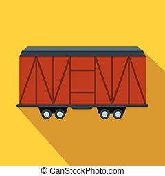 Train cargo wagon flat icon. Wooden wagon on a yellow...