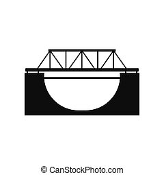 Rail bridge icon - Rail bridge black simple icon isolated on...