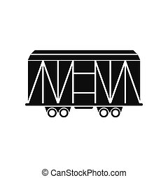 Train cargo wagon black simple icon isolated on white...