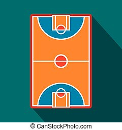 Basketball court field flat icon for web and mobile devices