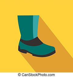 Rubber boots flat icon on a yellow background