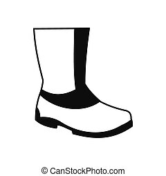 Rubber boots black simple icon isolated on white background