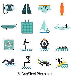 Water sport flat icons set isolated on white background