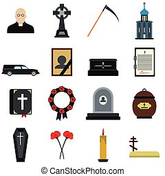 Funeral and burial flat icons