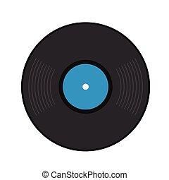 Retro vinyl record flat icon